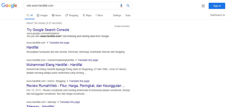 Gambar Cara mengecek alamat website/blog sudah terindex di google atau belum