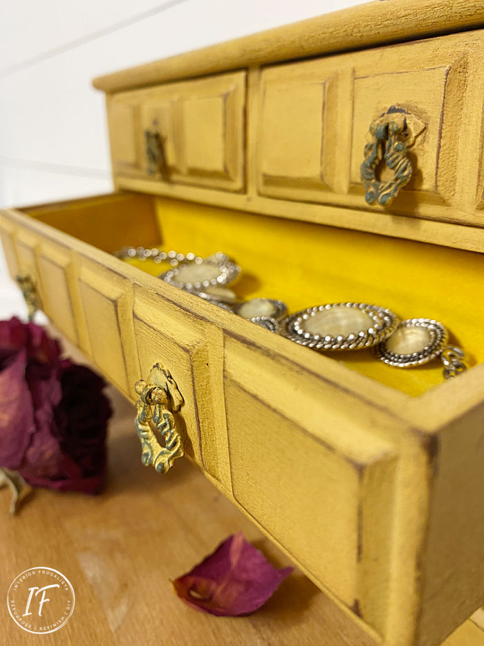 How to give a wooden thrift store vintage jewelry chest of drawers a shabby chic makeover and get instant wow factor with decor transfers and dark wax