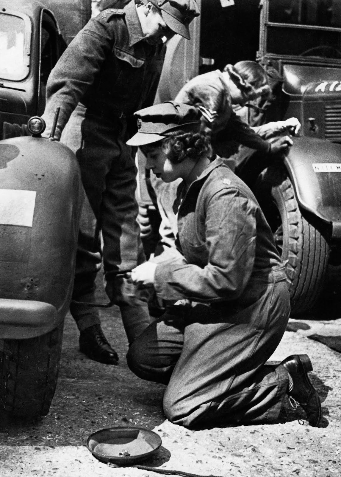 Queen Elizabeth II as a mechanic.