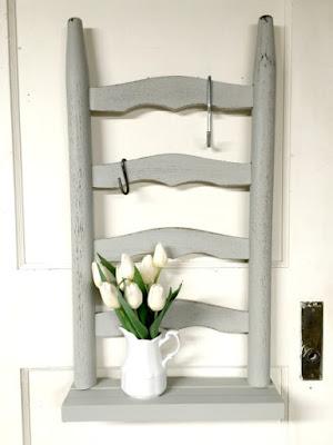 Ladder back chair shelf