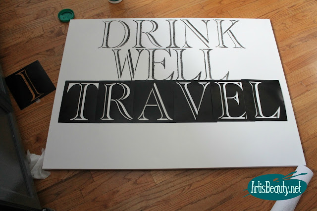 drink well travel often giant word art diy stencil canvas paint