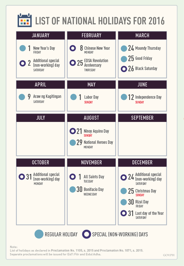 list of national holidays 2016