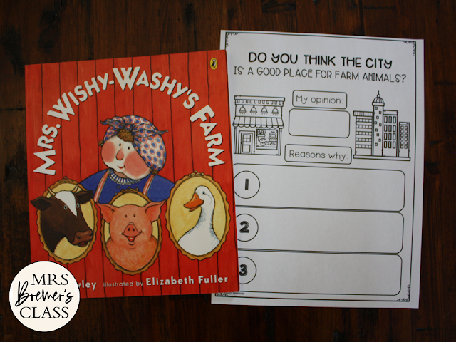 Mrs Wishy Washy's Farm book study activities unit with Common Core aligned literacy companion activities and a class book for Kindergarten and First Grade
