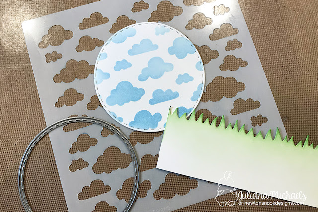 Stenciled Background by Juliana Michaels featuring Newton's Nook Designs Cloud Sky Stencil