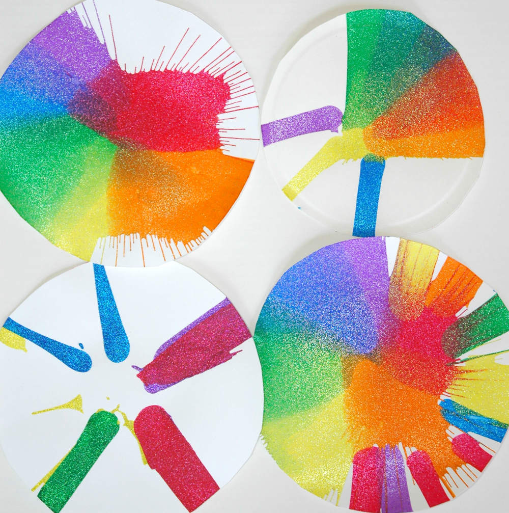 Rainbow Spin Art Process Painting