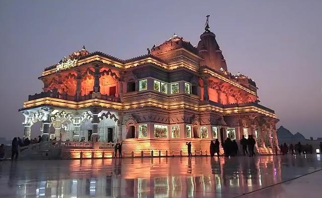 Prem Mandir Vrindavan changing light Night View pictures
