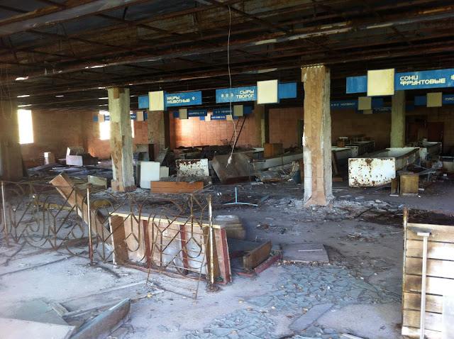 long abandoned grocery store in Chernobyl