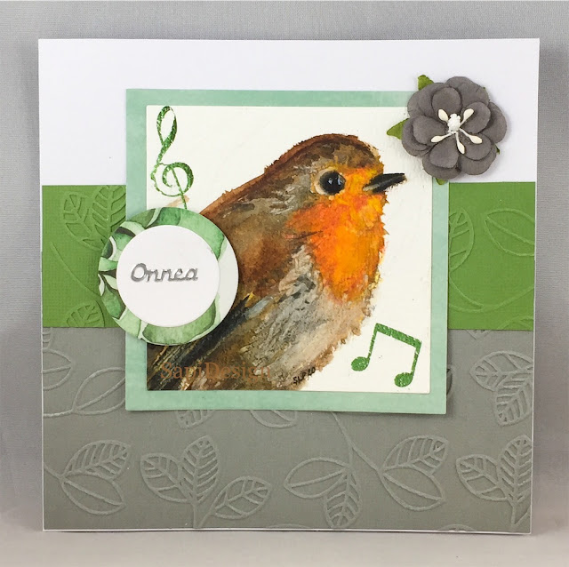 robin watercolors white nights handmade card embossing SapiDesign