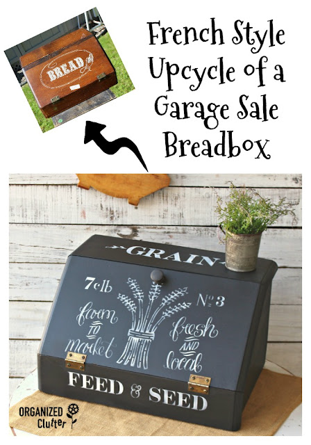 French Upcycle of a Garage Sale Breadbox  #dixiebellepaint #stencil #upcycle #garagesalefinds #breadbox #frenchstyle #frenchcountry