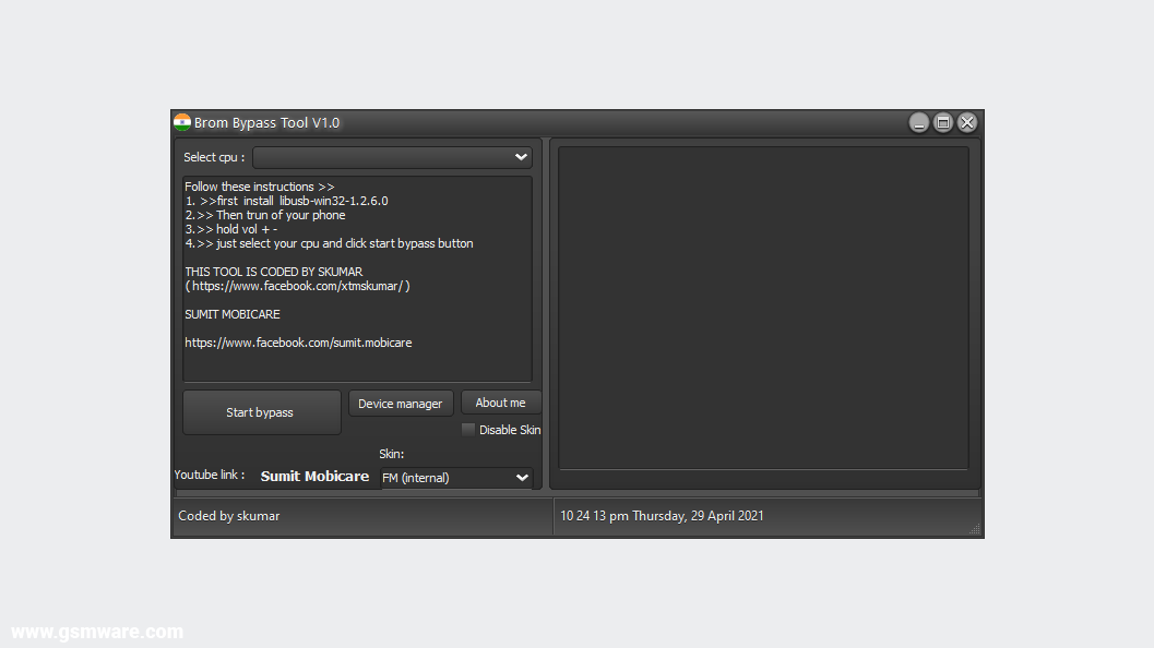 MTK Brom Bypass Tool V1.0 By Skumar