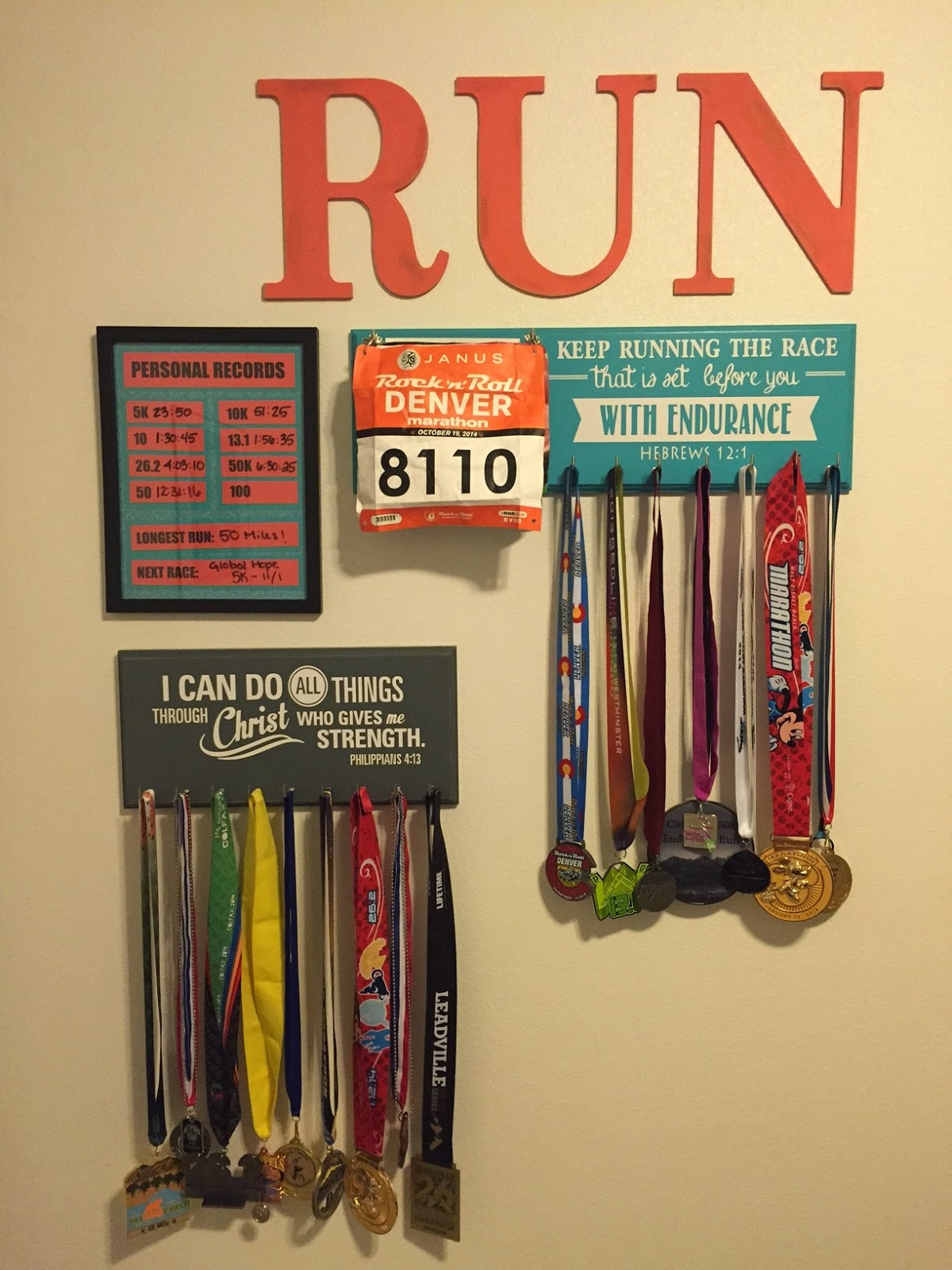 New Medal Hanger All Set Up On My Running Wall