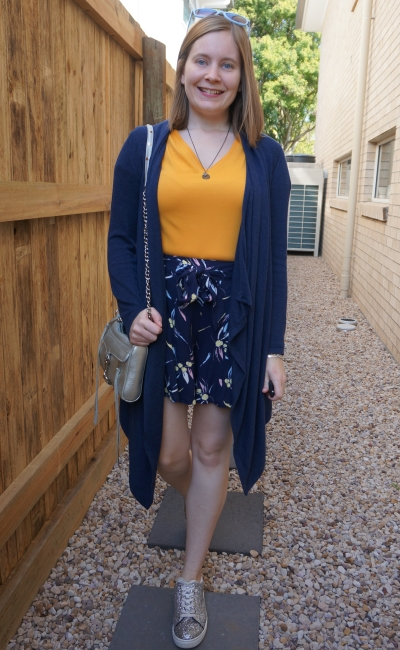mustard tee with navy cardigan and printed kmart shorts glitter sneakers SAHM spring style | away from blue