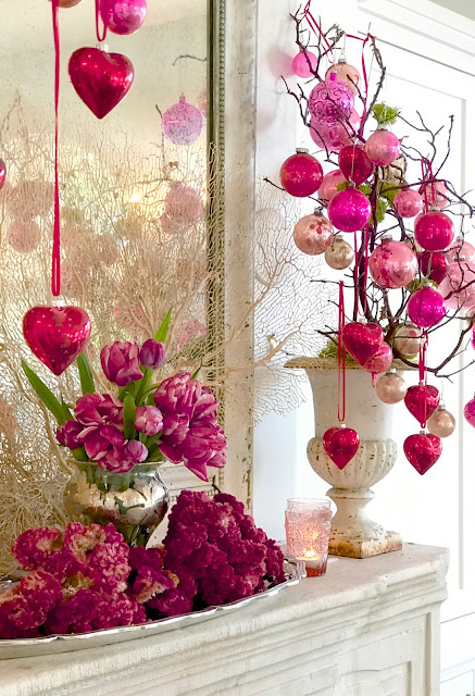 Valentine's Day Home Decor; Nora's Nest, Valentine trees, pink antique ornaments, pink tulips, pink flowers, pink cockscombs