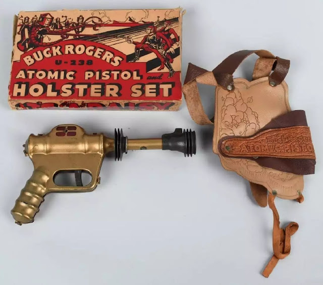 Buck Rogers U-238 Atomic Pistol Holster Set in rare original box, excellent to near-mint condition. Sold for $4,440