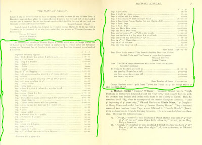 The transcribed inventory of George Harlan's estate, from  History and Genealogy of the Harland Family in America, and particularly of the descendants of George and Michael Harlan, who settled in Chester County PA, 1687, compiled by Alpheus Harlan (The Lord Baltimore Press 1914)