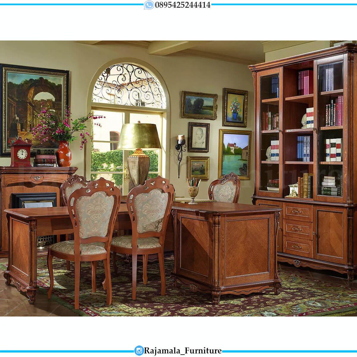 Meja Kantor Jati Perhutani Natural Salak Brown Luxury Classic RM-0580