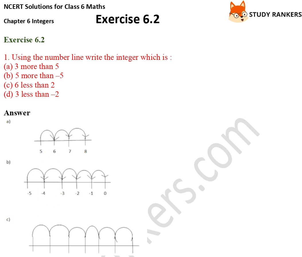 NCERT Solutions for Class 6 Maths Chapter 6 Integers Exercise 6.2