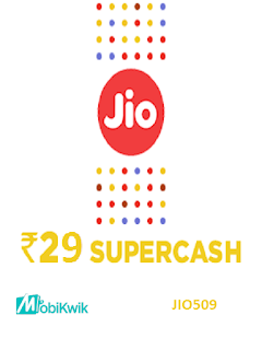 Mobikwik Offer Get Rs. 29 cashback on Jio Recharge of Rs. 509