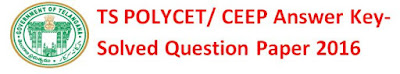 TS POLYCET 2016 Question Paper/ Answer Key