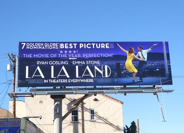 La La Land Golden Globes billboard
