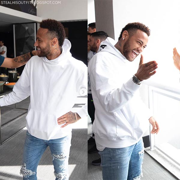 Neymar in white Balenciaga hoodie