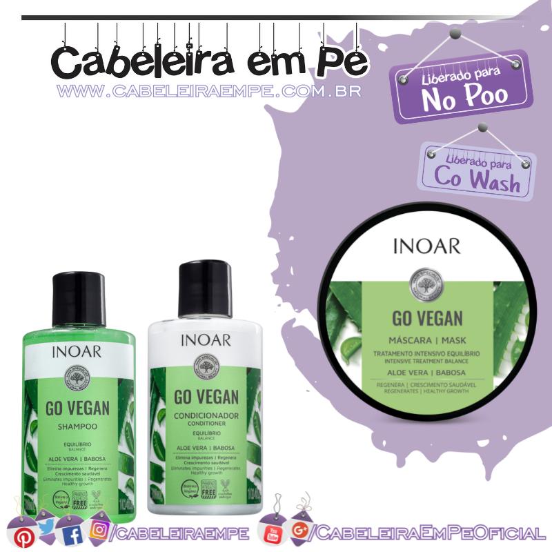 Shampoo, Condicionador (liberado para Low Poo) e Máscara (liberada para No Poo) Go Vegan Equilíbrio - Inoar