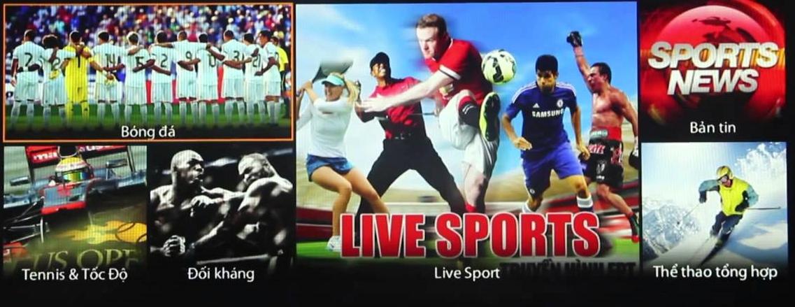 Xem bóng đá tv trên kênh Live Sport của FPT Play và Truyền hình FPT