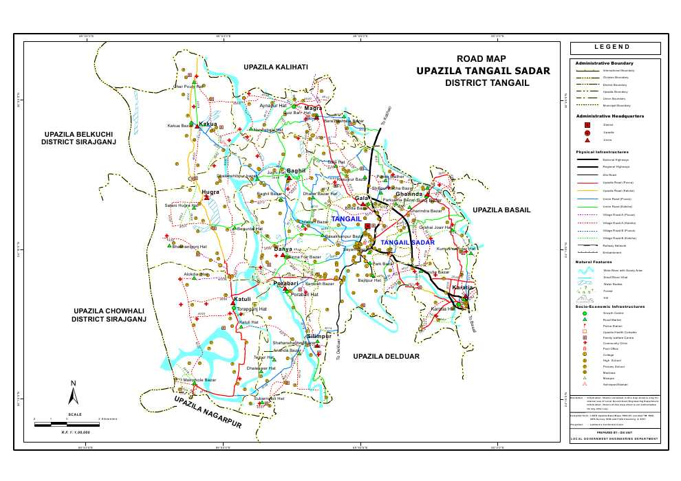 Tangail Sadar Upazila Road Map Tangail District Bangladesh