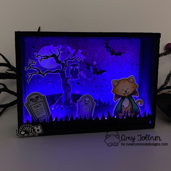 Amy's shadow box features Spooky Streets, Spooky Skeletons, Land Borders, Count Newton, Halloween Trio, and Peppermint by Newton's Nook Designs; #inkypaws, #newtonsnook, #halloweencards, #cardmaking, #catcards, #shadowbox