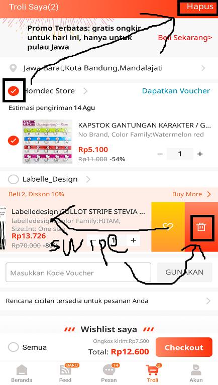 Menghapus Produk di Troli/ Keranjang Belanja Aplikasi Marketplace Lazada.