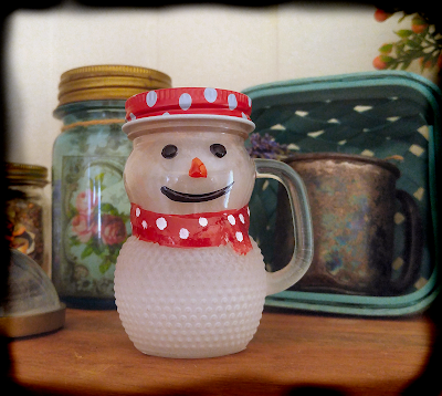 glass hobnail snowman miniature mug Christmas