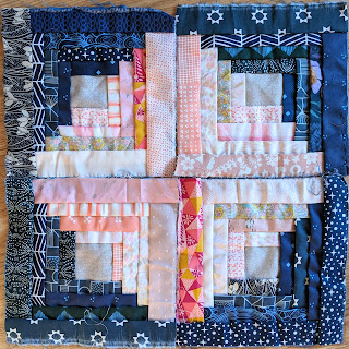 four hand sewn manx log cabin quilt blocks