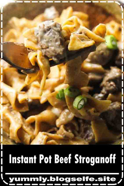 Easy Instant pot beef stroganoff pasta recipe will satisfy you with its comforting flavor! Sour cream, mushrooms, beef stew meat and your favorite noodles- that pretty much all you will need for this quick creamy pressure cooker dish