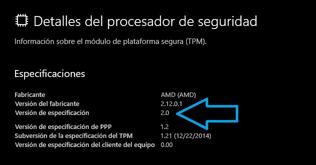 Windows 11 - TPM 2.0 Versión de especificación