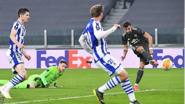 Manchester united star Bruno Fernandes in action against Real Soceidad in the Europa League
