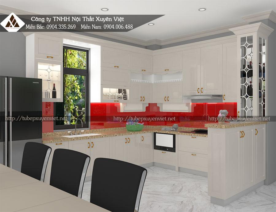 Tủ bếp nhựa tân cổ điển hải phòng nhà chú Phòng - Biệt thự Vinhomes