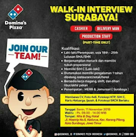 Walk In Interview at Domino's Pizza Surabaya Terbaru Nopember 2019