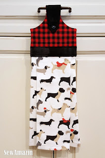 Dogs in Scarves Christmas Kitchen Hanging Tea Towel
