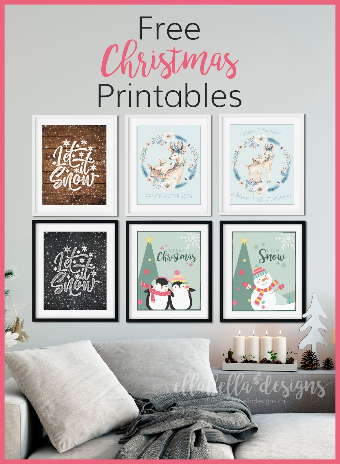 Ellabella Designs Free Christmas Wall Art Decor Printables