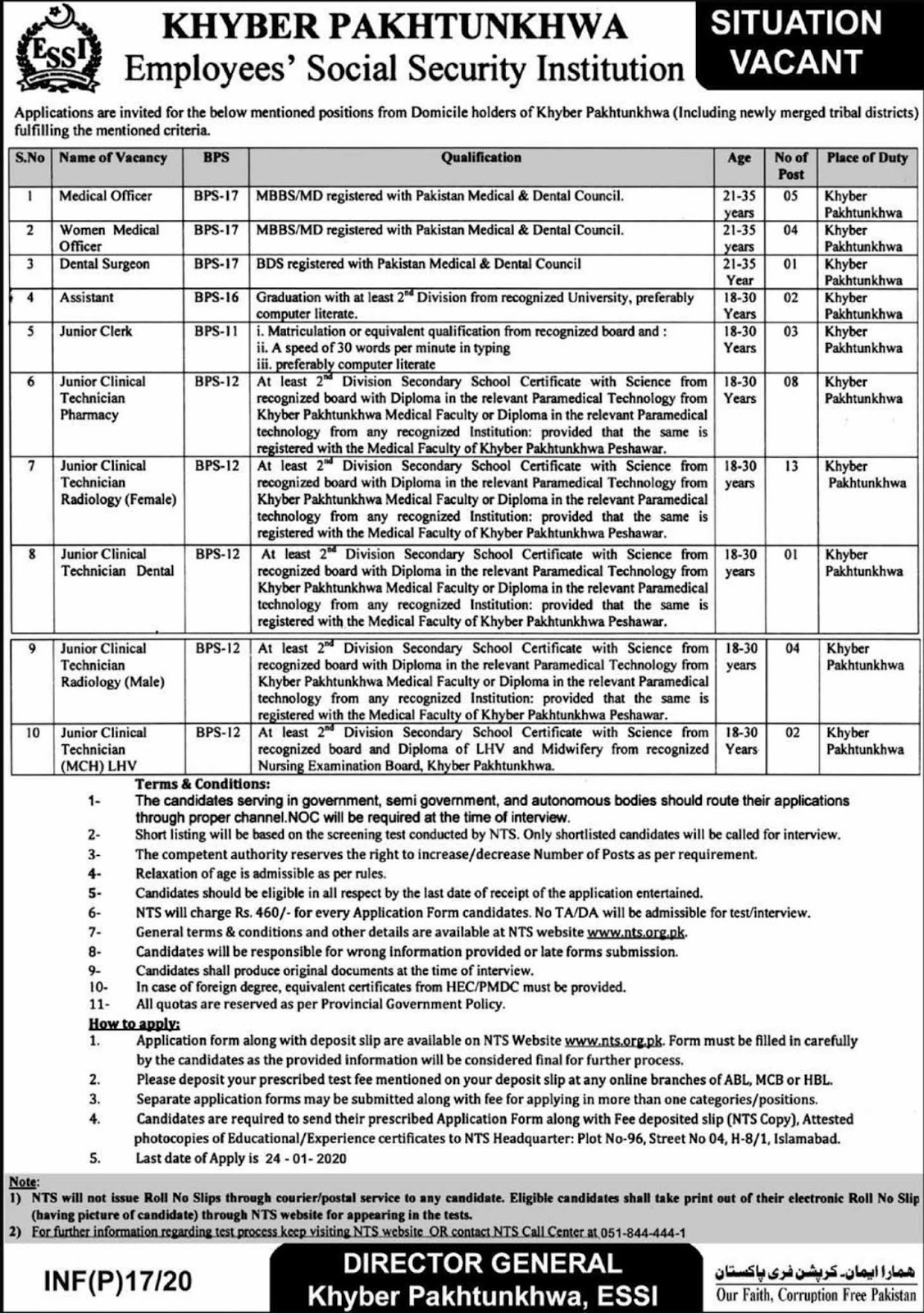 KPK Employees Social Security Institution Jobs 2020