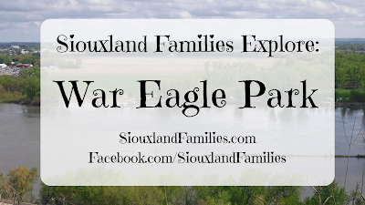 "in background, the confluence of the Sioux and Missouri rivers. in foreground, the words ""Siouxland Families Explore War Eagle Park"""