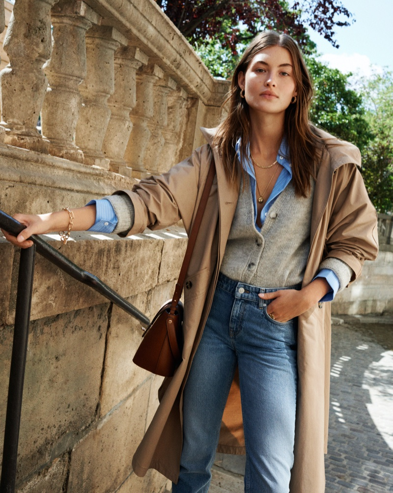 Grace Elizabeth poses in Mango Everyday Pleasures fall 2020 editorial.