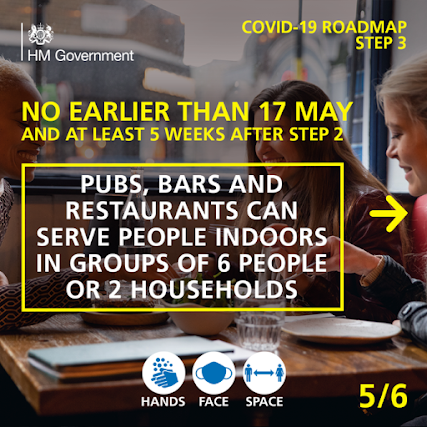 UK Gov COVID Roadmap Business 5 of 6 No earlier than 17th May drinks inside pubs