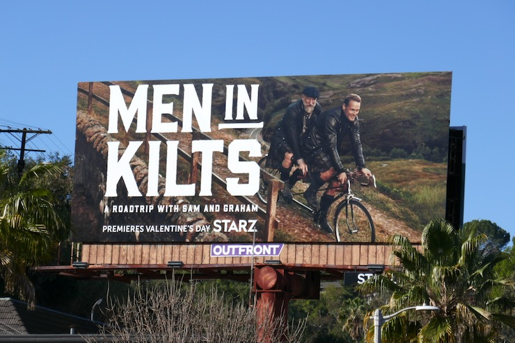 Men in Kilts tandem bike billboard