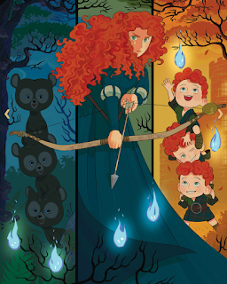 Triptych of Merida with her three brothers as bears one one side and humans on the other