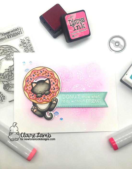 Donut know what I'd do without mew by Claire features Newton's Donut and Banner Trio by Newton's Nook Designs; #inkypaws, #newtonsnook, #cardmaking, #catcard