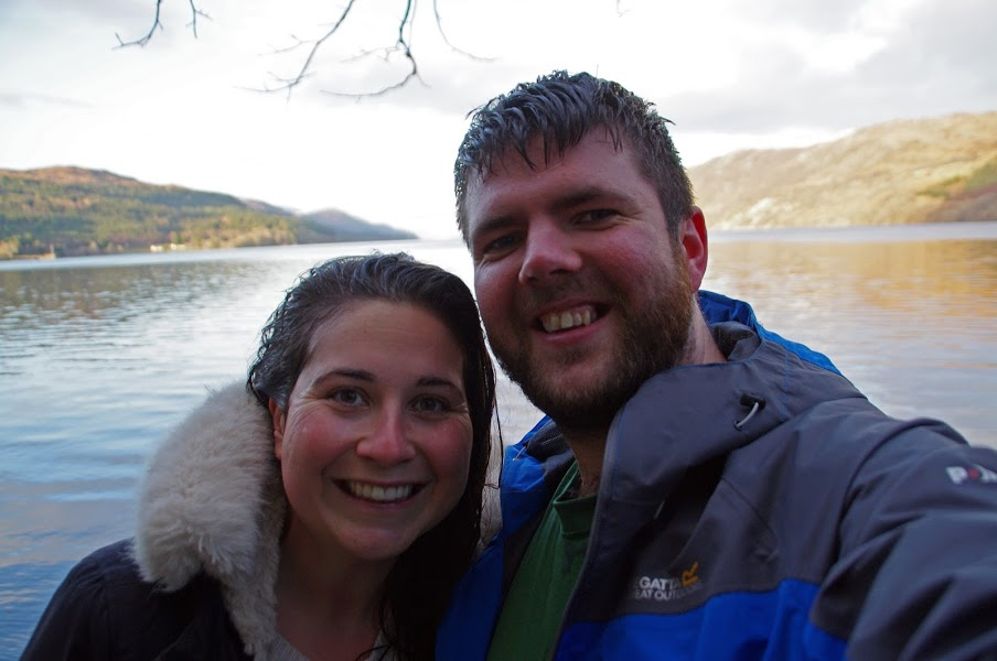 Couple after swimming in Loch Ness Scotland