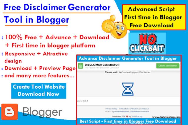 free disclaimer generator tool script for blogger