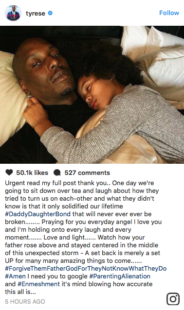 Tyrese reacts to child services investigation