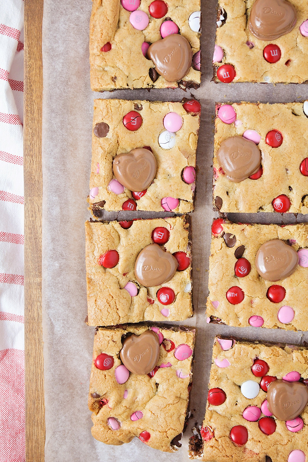 These adorable Valentine cookie bars are loaded with chocolate chips and M&M's. They're the perfect treat for your sweetheart!